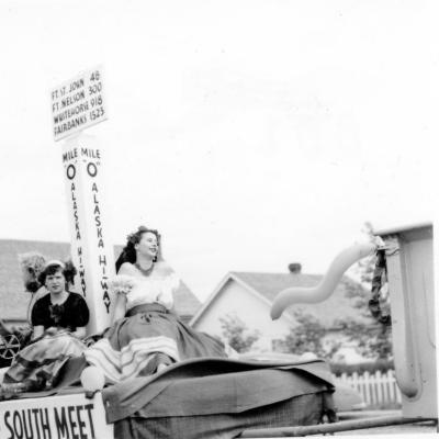 Fiesta of the North Summer festival parade, Dawson Creek, BC, August 1951