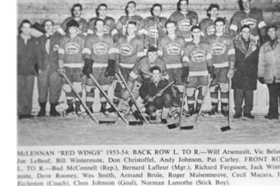 """McLennan """"RedWings"""" 1954-55 Photo of newspaper clipping"""