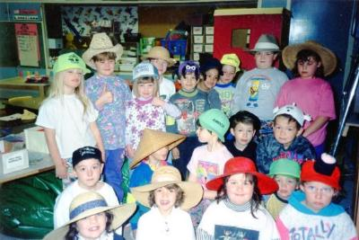 Pouce Coupe Elementary School, Year 2 & 3 Class, Hat Day Pouce Coupe, BC 1992