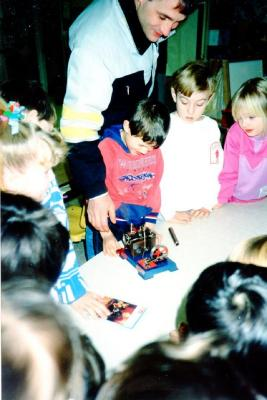 Pouce Coupe Elementary School, Year 2 & 3 Class,, Jordan's steam engine Pouce Coupe, BC 1992