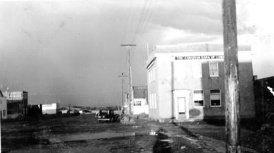 10th Street Canadian Bank of Commerce looking east on 102nd Ave. Dawson Creek, BC, 1942