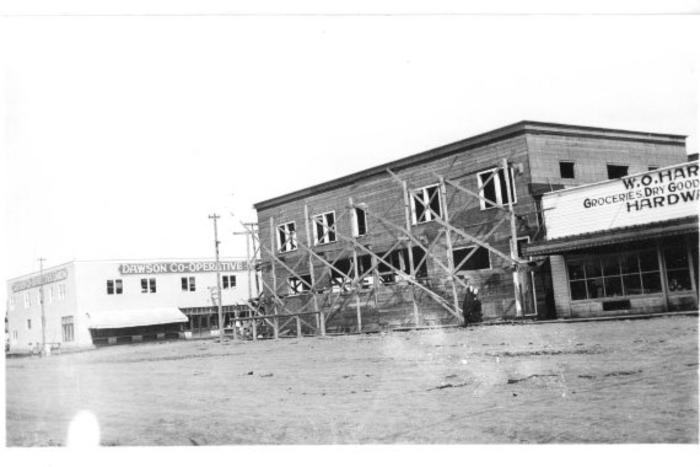 Dawson Co-op (on left) and W.O. Harpers  10th 102Ave. Dawson Creek, BC, 1936