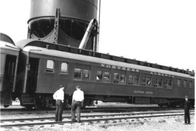 """Northern Alberta Railway Coach """"Dawson Creek"""" at Hythe 1943"""