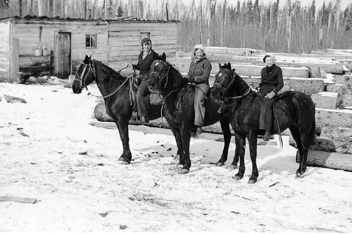 Three ladies on horse back at the sawmill, North Rolla Area, B.C. 1937