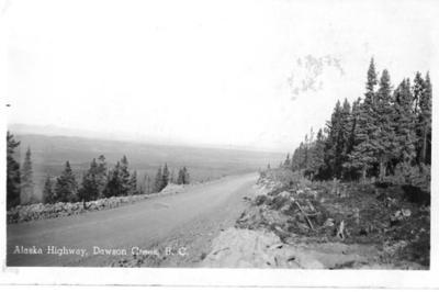Alaska Highway near Dawson Creek, BC 1942 postcard