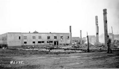 Fire and Explosion February 13, 1943, The day after.Co-op Union Store. Dawson Creek , B.C., February 14, 1943