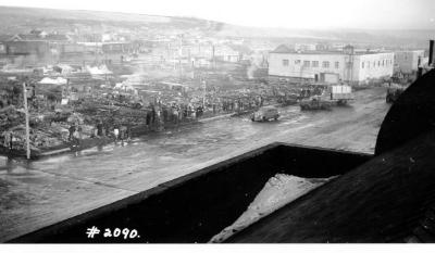 Fire and Explosion February 13, 1943, The day after. 102nd Ave , the burn out block only the Co-op Union standing. Dawson Creek , B.C., February 14, 1943