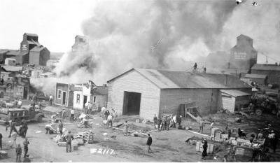 Babcock Garage fire, located 102 Ave 1100 block, Dawson Creek , B.C., June 2, 1943