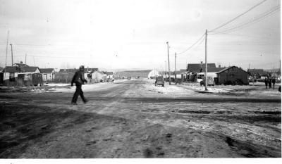 R. M. Smith Building , in the distance. Dawson Creek , B.C., February, 1943