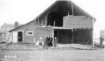 Fire and Explosion February 13, 1943, The day after. Krysko's Livery Barn, Alaska Ave. and west side of 11th St. Dawson Creek , B.C., February 14, 1943