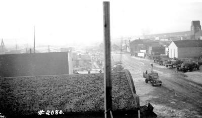 Fire and Explosion February 13, 1943, The day after. 102nd Ave west of 11th St. looking northwest. Dawson Creek , B.C., February 14, 1943