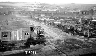 Fire and Explosion February 13, 1943, The day after. 102nd Ave and11th St. looking northeast. . Dawson Creek , B.C., February 14, 1943