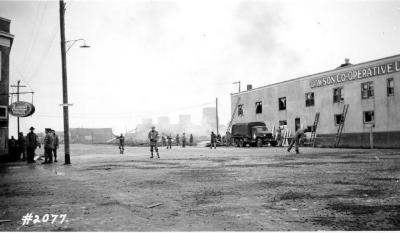 Fire and Explosion February 13, 1943, The day after.Co-op Union Store, facing 102nd Ave. Dawson Creek , B.C., February 14, 1943