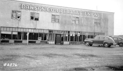Fire and Explosion February 13, 1943, The day after.Co-op Union Store, facing 10th St. Dawson Creek , B.C., February 14, 1943