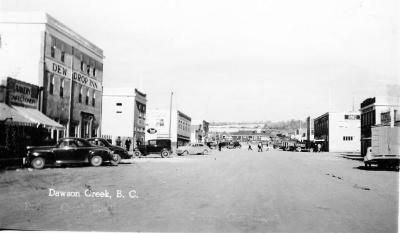 10th Street looking north to the N.A.R. Station. Dawson Creek, B.C., 1942 - 1943