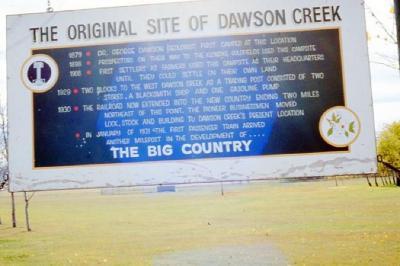 Sign to mark the location of Old Dawson Creek, Dawson Creek, B.C., 1985