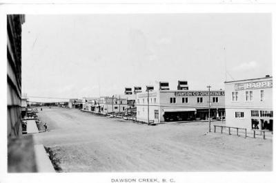 102 Avenue north side, Harpers Store, 10th Street, Dawson Co-op, Joe Dill Funeral Home, Dawson Creek, B.C. 1935 - 1936