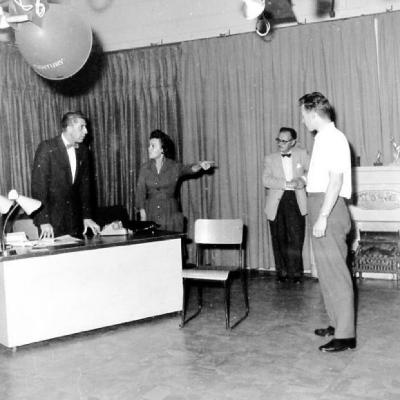 """Scenes from """"Witness for the prosecution"""" play, Dawson Creek B.C. October 1961"""