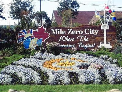 Mile Zero City Sign, Finagans Corner, Dawson Creek, B.C. 2011