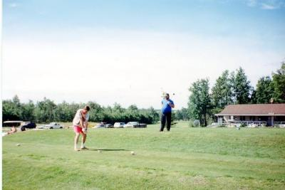 Farmington Fairways , Club house and #1 Tee, Kevin Omilon and Rick Ford Farmington. B.C. 1993