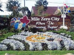 Mile Zero City Sign,  Finagans Corner, Dawson Creek, B.C.  2011