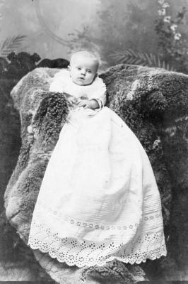 Baby Gladys, 5 months old, (Cabinet card type photograph) ca. 1870s