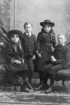 4 unknown children, taken at- J.H. Lemaitre & Co., 324 Yonge Street, Toronto, Ontario. two doors North of Edward St. ca. 1890s
