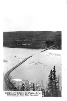 Peace River Bridge Temporary  Taylor, BC 1942-43 postcard