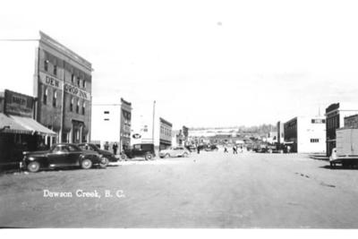 10th St. looking North from 103rd Ave  Dawson Creek, BC 1942-44 Postcard