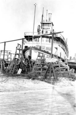 "Steamer ""Casca"" in drydock  Whitehorse, Yukon ca 1950"