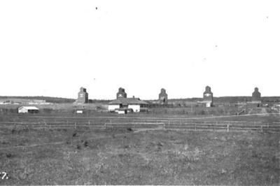 5 Grain Elevators Village of Dawson Creek, BC ca 1935