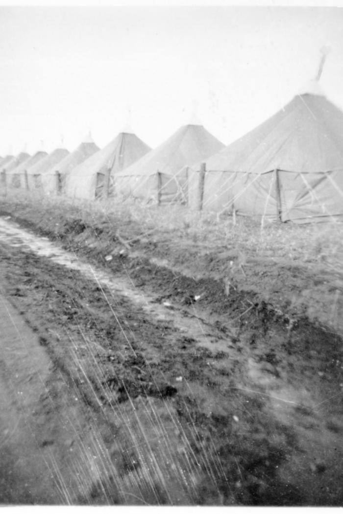 Military camp, row of tents, Dawson Creek, B.C.