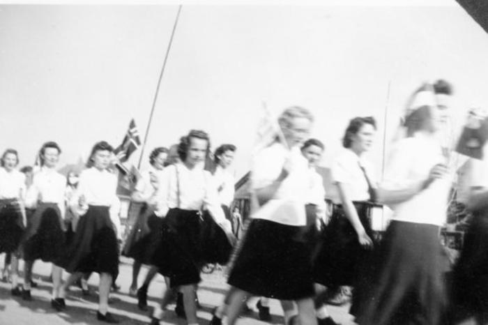 C.G.I.T. girls on parade, Dawson Creek, B.C.