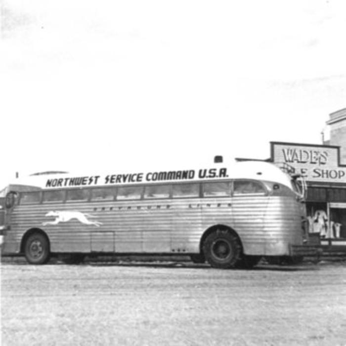 Northwest Service Command Bus, Wade's Style Shop Dawson Creek, BC 1942-43
