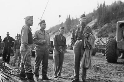 Lt. Col. Lockeridge, District Engr. Edmonton District; Brig. Gen. Worsham, C.O. North West Division; Unidentified officer; Major Gen. Robbins, Office of Chief of Engineers. July 1943