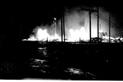 Fire and Explosion Nighttime view Dawson Creek, BC Feb 1943