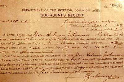 Peace River District Homestead Documents 1918