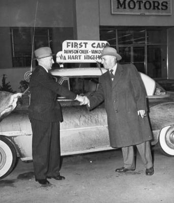 Alec Eastwood and Ralph Thomsen at GM Headquarters, Vancouver, B.C. 1951