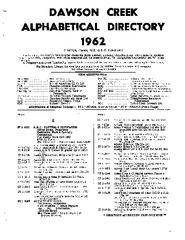 1962 Dawson Creek City Directory
