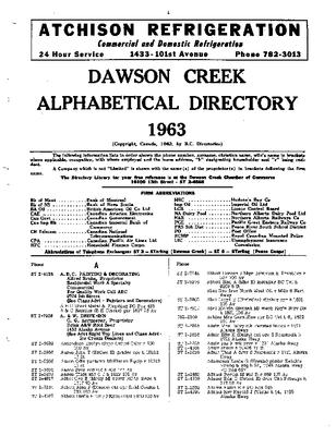 1963 Dawson Creek City Directory