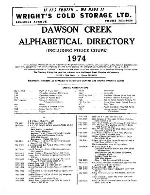 1974 Dawson Creek City Directory