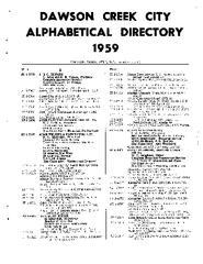Dawson Creek City Directory, 1959