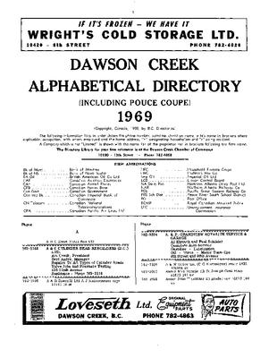 1969 Dawson Creek City Directory
