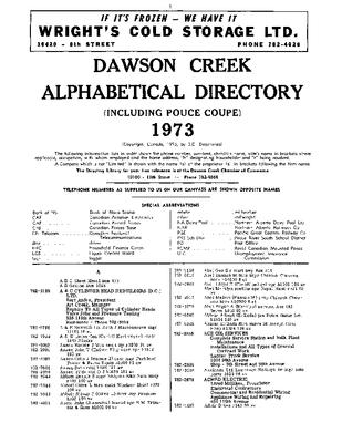 1973 Dawson Creek City Directory