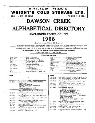 1968 Dawson Creek City Directory