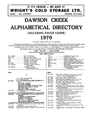 1970 Dawson Creek City directory