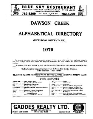 1979 Dawson Creek City Directory