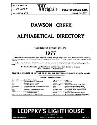 1977 Dawson Creek City Directory