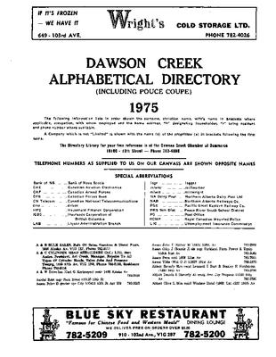 1975 Dawson Creek City Directory