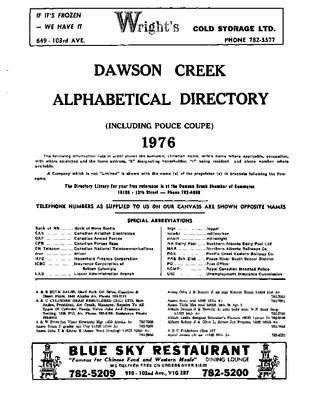 1976 Dawson Creek City Directory